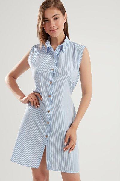Y-London Kadın Mavi Çizgili Sıfır Kollu Kuşaklı Gömlek Elbise Y20S168-2202