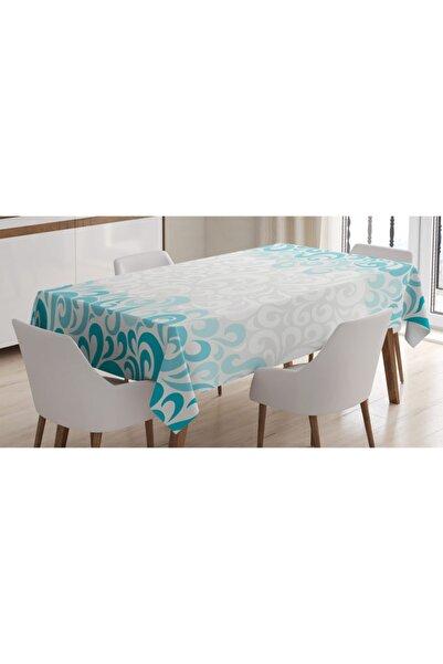 Orange Venue Çiçekli Masa Örtüsü Mavi Çiçek Kıvrım Desenli