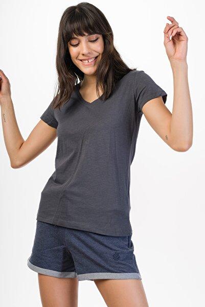 Runever Kadın Füme Kısa Kollu T-shirt