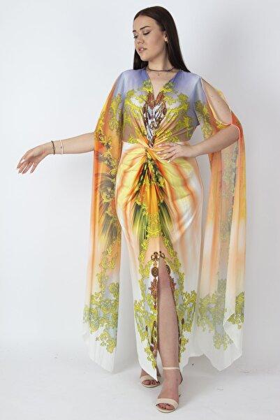 Şans Kadın Renkli Kolları Tül Detaylı Renkli Abiye Elbise 65N16788