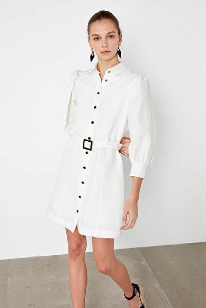 Kadın Ekru Balon Kol Gömlek Elbise IS1200002479018