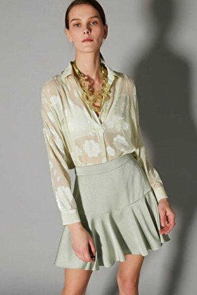 Kadın Yeşil Over Size Transparan Gömlek IS1200025123011
