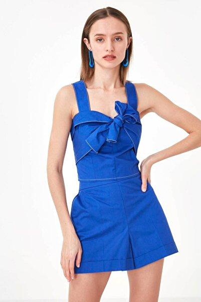 Twist Kadın Mavi Yaka Detaylı Askılı Bluz TS1200006187020