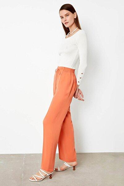 İpekyol Kadın Turuncu Lastik Bel Pantolon IS1200003178019