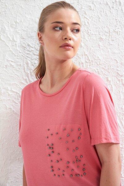 Big Free Kadın Pembe Metal İnci Detaylı Kısa Kol Bluz Tb20Yb455023