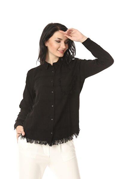 Kadın Siyah Püskül Detaylı Gömlek