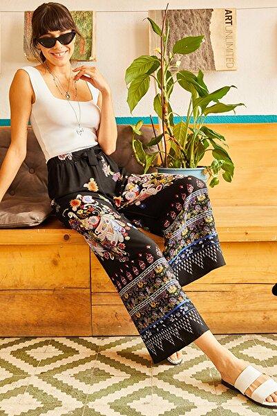 Olalook Kadın Siyah Eteği Sulu Kuşaklı Dokuma Pantolon PNT-19000105