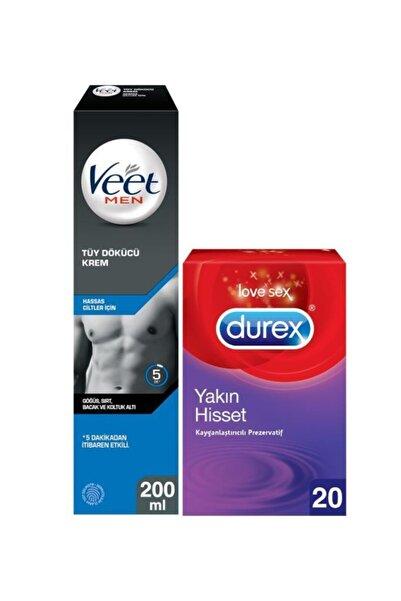 Veet Men Hassas Erkeklere Özel Tüy Dökücü Krem 200ml+Durex Yakın Hisset Kayganlaştırıcılı Prezervatif 20'li