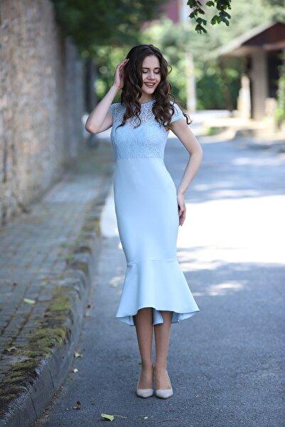Shine İstanbul Midiboy Volanlı Bebek Mavisi Elbise