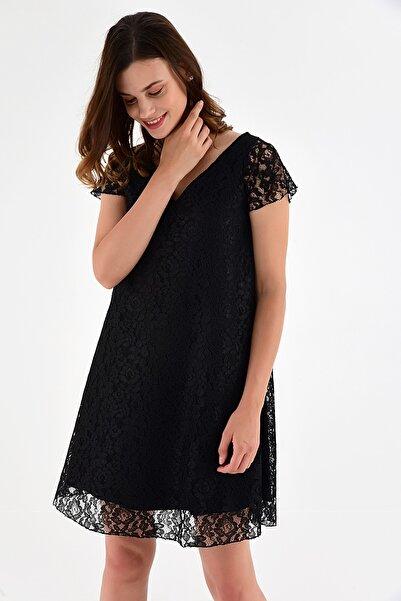 Laranor Kadın Siyah Yaka Detaylı Güpür İşlemeli Dantel Elbise 20L6805