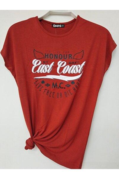 Kadın Sıfır Yaka Baskılı Viskon T-shirt