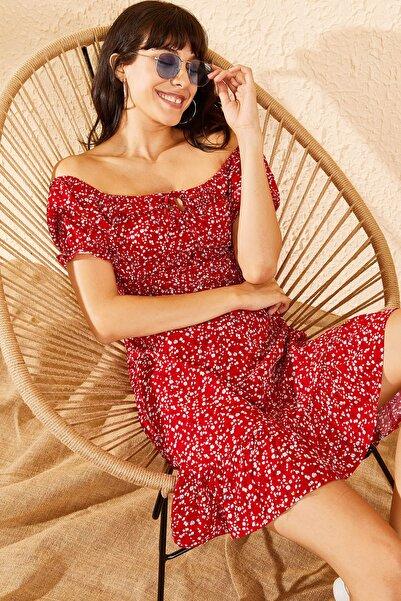 Kadın Kırmızı Gipeli İp Askılı Küçük Çiçek Desenli Elbise 10091046