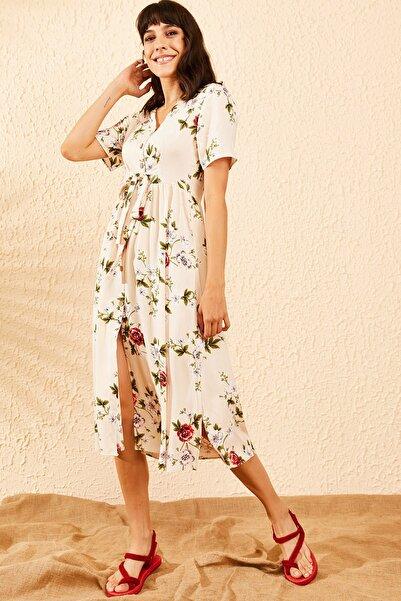 Bianco Lucci Kadın Bej Çiçek Desenli Beli Kuşaklı Düğmeli Rahat Elbise 10091009