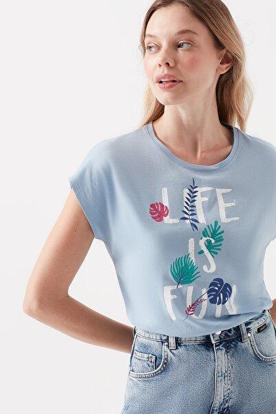 Kadın Life Is Fun Baskılı Mavi T-Shirt 168742-31435