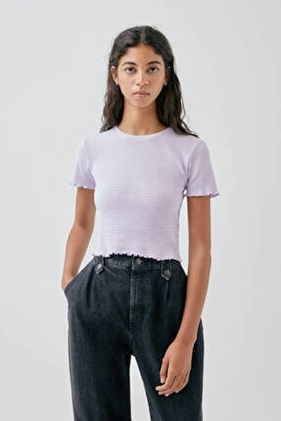 Kadın Mor Kıvrımlı Kenarlı Basic T-Shirt 05234369