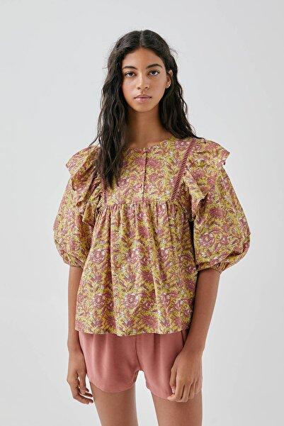 Pull & Bear Kadın Yeşil Omzu Fırfırlı Desenli Oversize Bluz 05474335