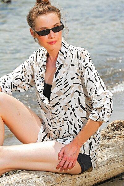 Kadın Bej Desenli Dökümlü Dokuma Gömlek Dnz-3157-Rw1