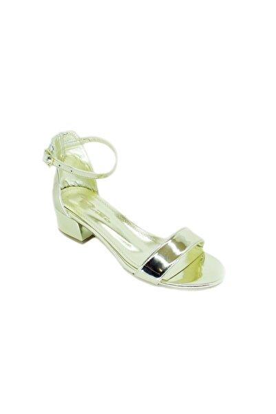 PUNTO Kadın Altın Kalın Topuk Tek Bantlı Ayakkabı 456038