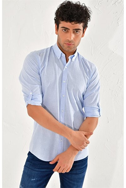 Efor G 1440 Slim Fit Mavi Spor Gömlek