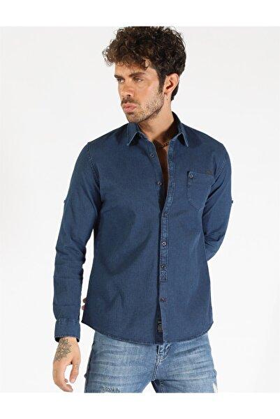 Twister Jeans Twıster Jeans 1500-05 Erkek Kendınden Fıtıllı Kot Gömlek