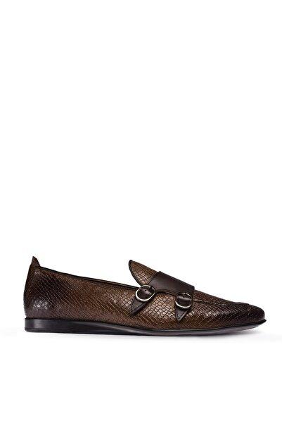 Deery Erkek Hakiki Deri Kroko Kahverengi Çift Tokalı Loafer Ayakkabı