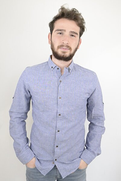 Mcr Erkek Gömlek Mavi Kahve Çizgili 37796 Model