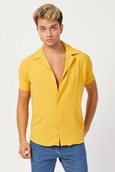 Karpefingo Erkek Pamuk Keten Kısa Kol Hardal Gömlek