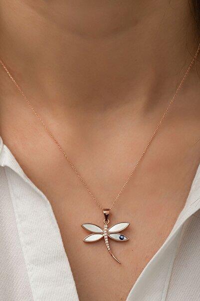Papatya Silver 925 Ayar Rose Altın Kaplama Yusufçuk Gümüş Kolye