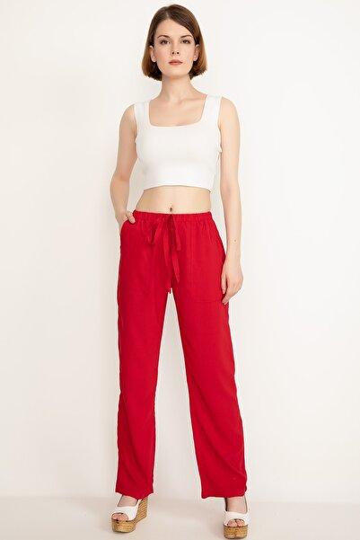Kadın Bel Lastikli Kuşaklı Pantolon