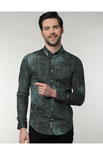 Tudors Erkek Dar Kesim Desenli Likralı Gömlek