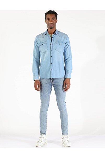 Twister Jeans Twıster Jeans 1704-09 Erkek Çıtçıtlı Çift Cepli Kot Gömlek