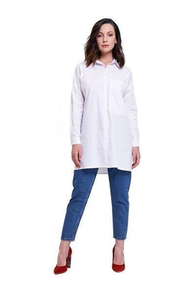 Mizalle Büyük Cepli Tunik Gömlek (Beyaz)