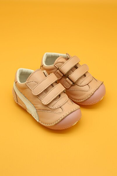 Hakiki Deri Ortopedik İlk Adım Bebek Ayakkabısı Pembe B108