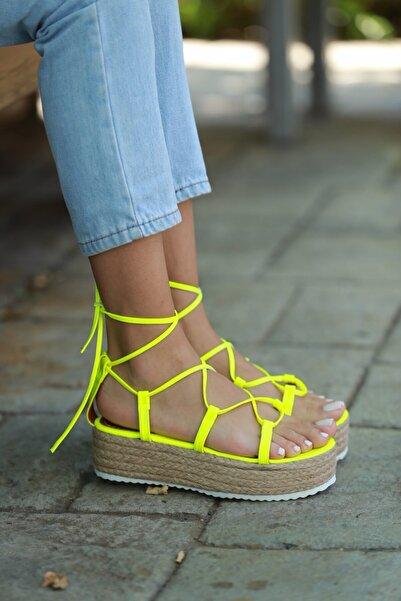 Arazshoes Paris Fosfor Yeşili Kadın Düz Sandalet