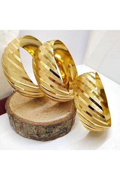 TAKI TASARIM Mega Bilezik 22 Ayar Altın Kaplama 3 cm No:66