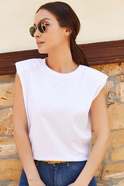 armonika Kadın Beyaz Omuzları Vatkalı Kısa Kol T-Shirt Arm-20Y055019