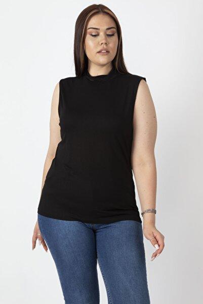 Şans Kadın Siyah Sıfır Yakalı Kolsuz Tişört 65N16958