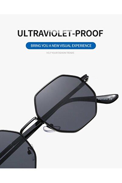Ünisex Uv 400 Vintage Bayan Altıgen Güneş Gözlüğü Siyah Cam