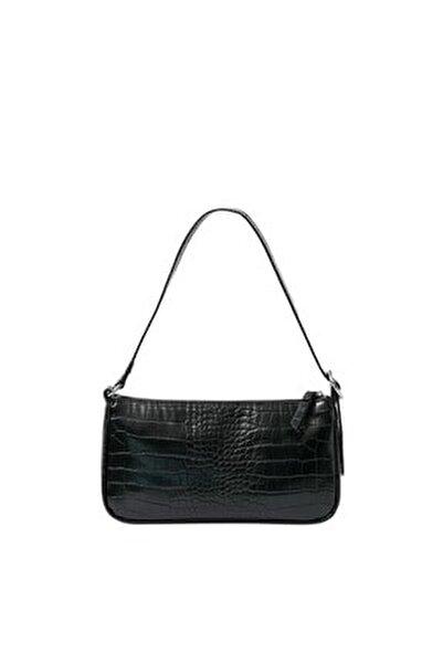 Kadın Siyah Timsah Derisi Görünümlü Mini Çapraz Askılı Çanta 00751011