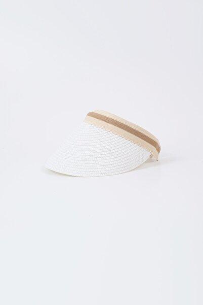 Kapin Beyaz Hasır Vizör Şapka - Tenis Şapkası