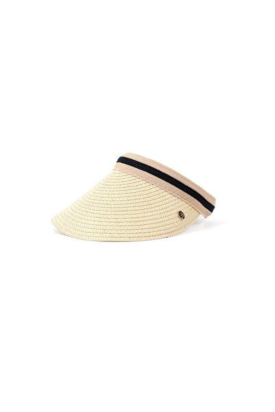 Kapin Krem Hasır Vizör Şapka - Tenis Şapkası