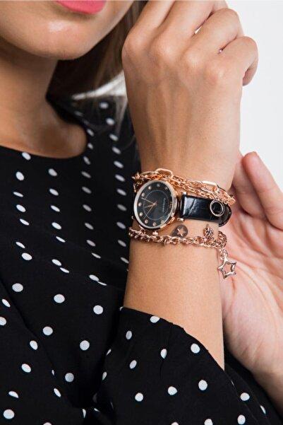 Misis Moda 3 Lü Bileklikli Siyah Saat Takım