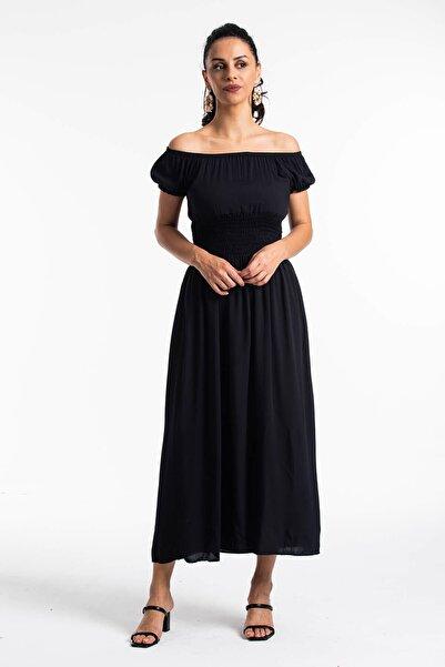 Madonna Yaka Gipeli Elbise Siyah