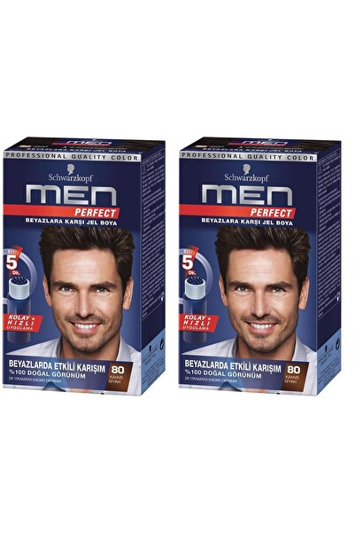 SCHWARZKOPF HAIR MASCARA Perfect Men 80 Siyah Kahve Saç Boyası x 2 adet