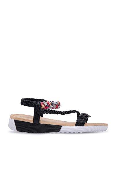 Via Dante Kadın Siyah Taş Detaylı Sandalet  Sandalet 38920Y2328Vd