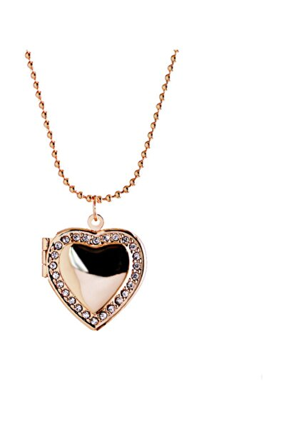 Chavin içi Açılan Zincirli Taşlı Kalp Kadın Kolye eb54