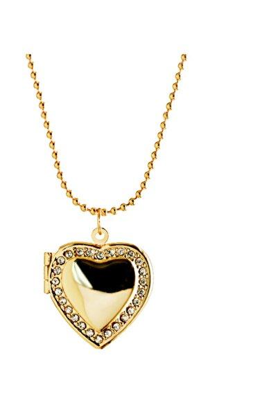 Chavin İçi Açılan Zincirli Taşlı Kalp Kadın Kolye eb54