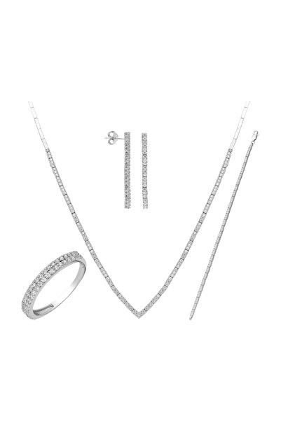 Chavin Su Yolu Gümüş Kolye Küpe Bileklik Yüzük Set dz27