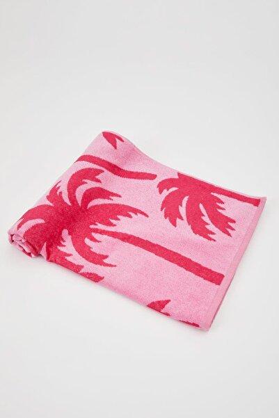 Kadın Pembe Palmiye Desenli Plaj Havlusu N9910AZ.20SM.PN1