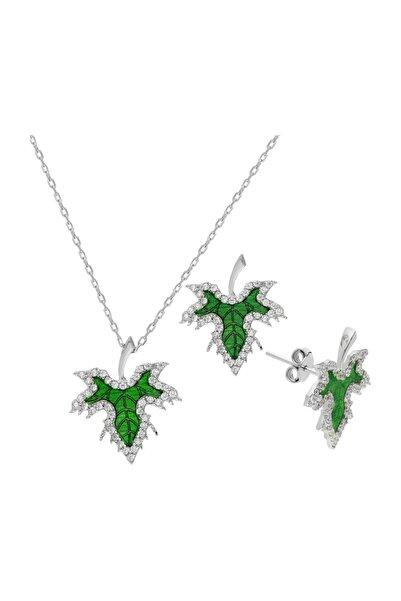 Chavin Yeşil Mineli Mini Çınar Yaprağı Gümüş Kolye Küpe Set dz04